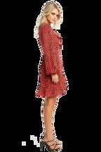 NORA WRAP DRESS in colour TOMATO
