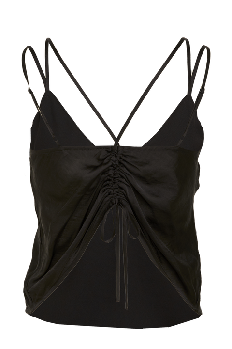 DRAWSTRING CAMI in colour CAVIAR