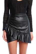 PU FRILL SKIRT in colour CAVIAR