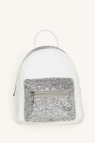 GLITTER POCKET BACKPACK in colour WHITE ALYSSUM