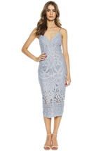 GIA LACE DRESS. in colour ASHLEY BLUE