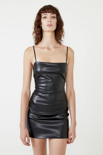 ANABELLE VEGAN LEATHER DRESS in colour CAVIAR