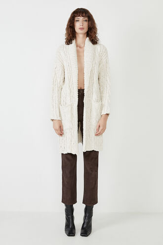 LONG CHUNKY CARDIGAN in colour VANILLA ICE