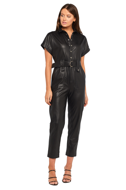PU BELTED PANTSUIT