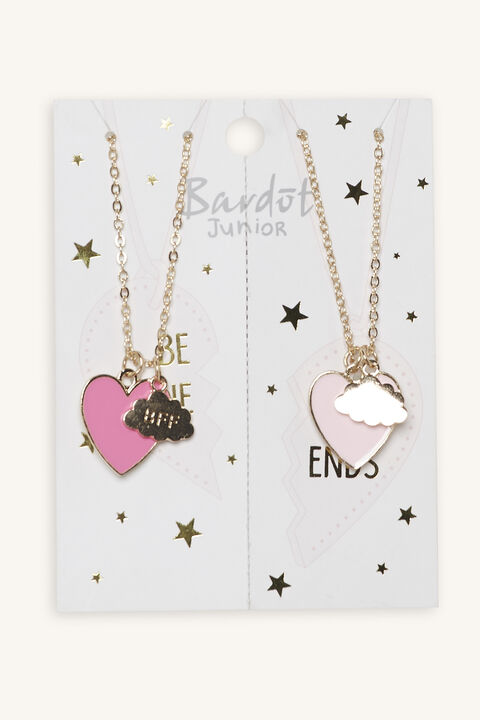 HEART BFF NECKLACE SET in colour GOLD EARTH