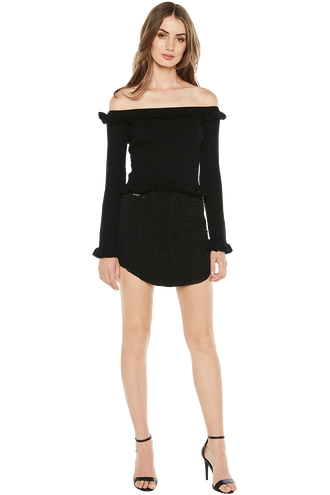 KIM OFF SHOULDER KNIT in colour CAVIAR