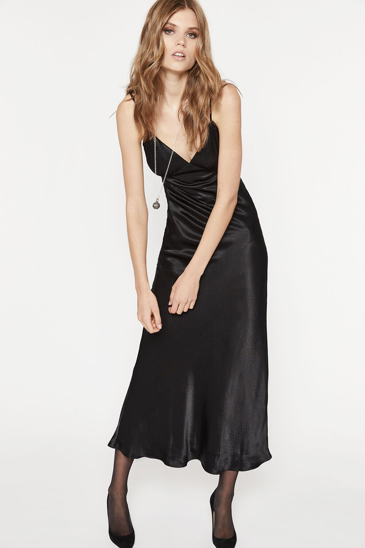 MALINDA SLIP DRESS in colour CAVIAR