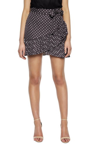 SPOTTY PLEAT SKIRT in colour NINE IRON