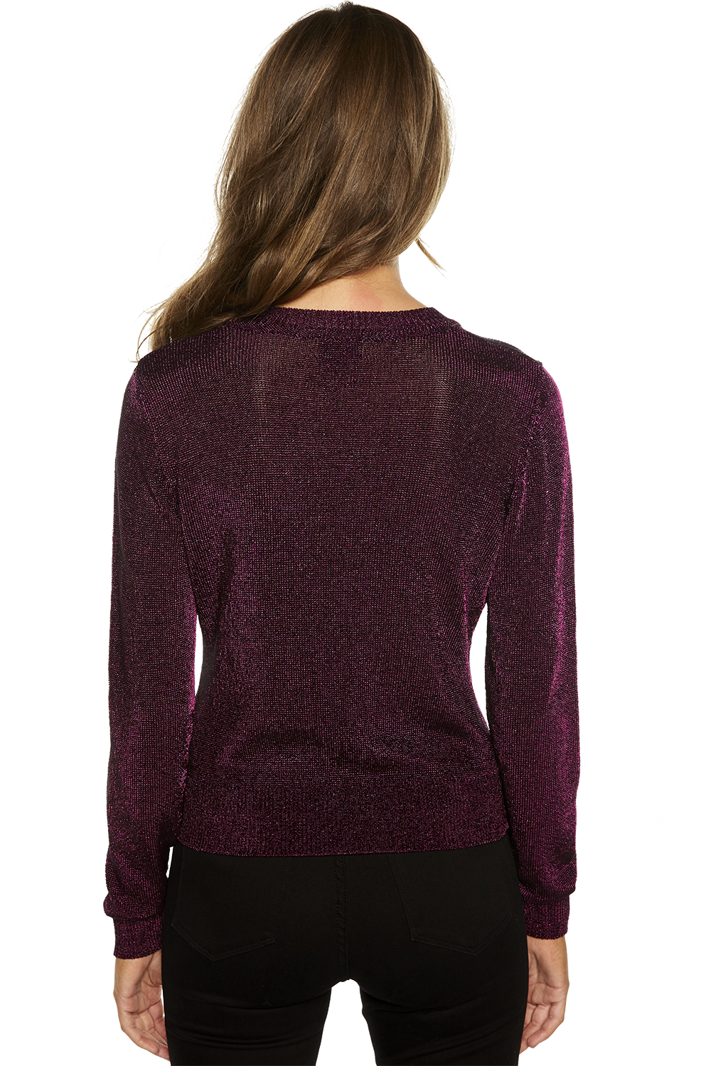 METALLIC LONG SLEEVE KNIT in colour NOCTURNE
