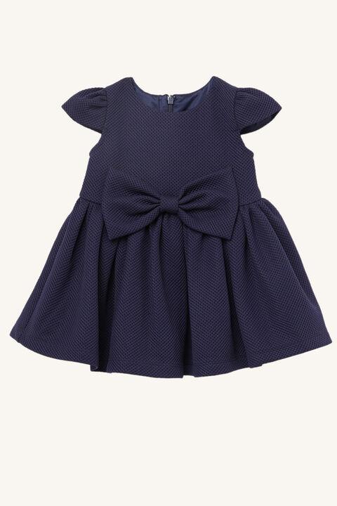 BABY GIRL POLLY BOW DRESS in colour BLACK IRIS