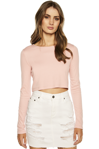 CROP LONG SLEEVE RIB TOP in colour POWDER PINK