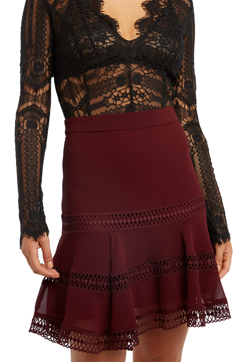 LUELLA TRIM SKIRT in colour BURGUNDY