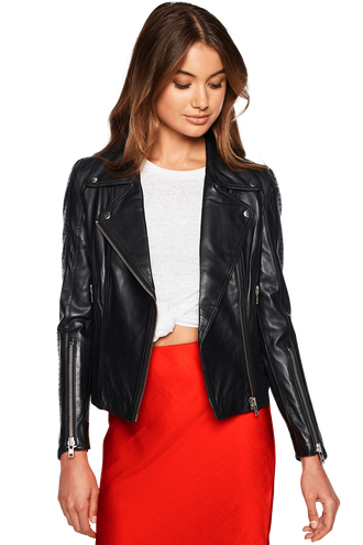 LIANA LEATHER BIKER in colour CAVIAR