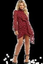 KALIA PRINT DRESS in colour SANGRIA