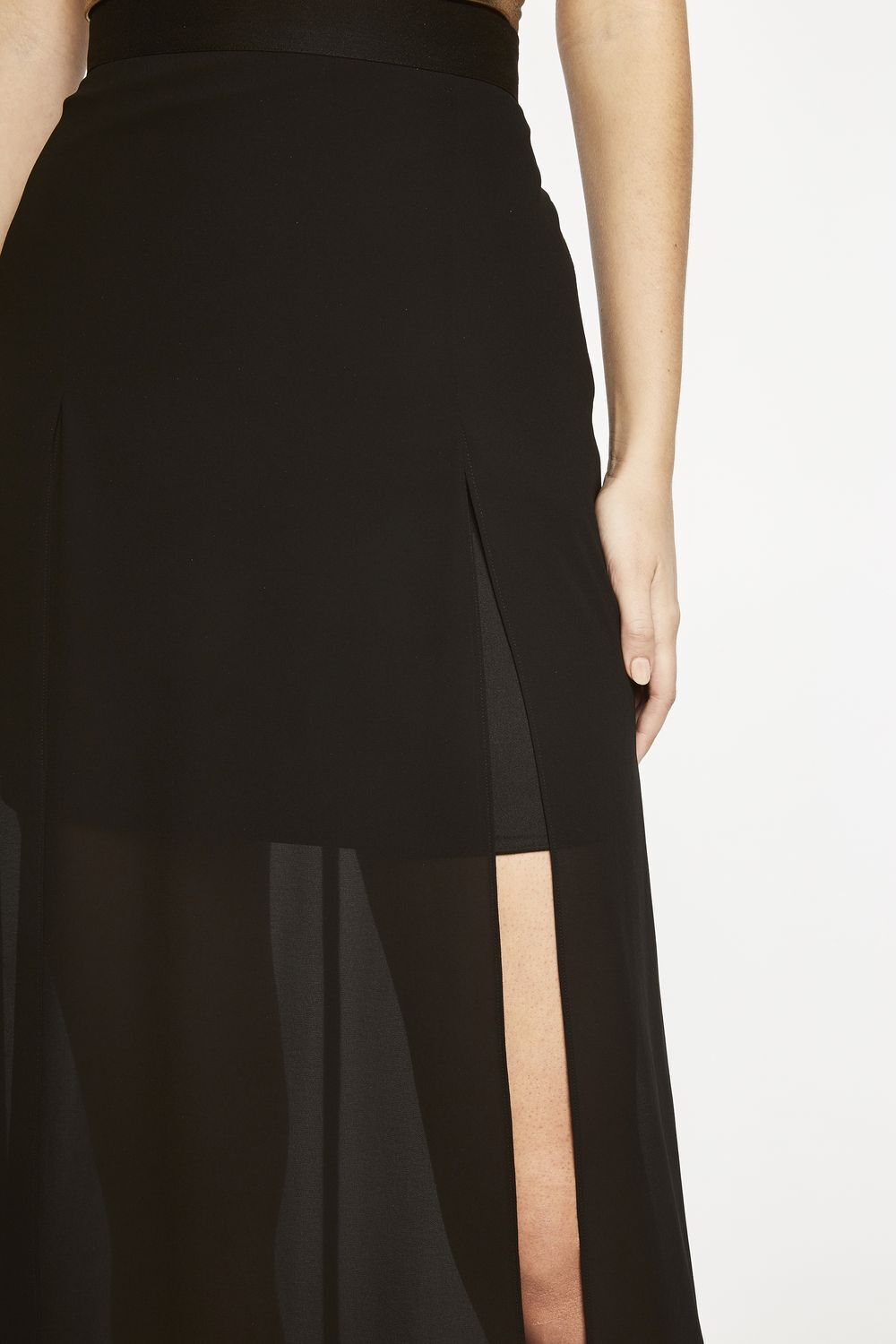 JACKIE SPLIT SKIRT in colour CAVIAR