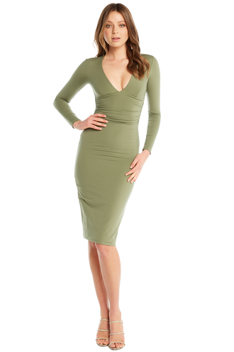 ALI LS DRESS in colour DEEP LICHEN GREEN