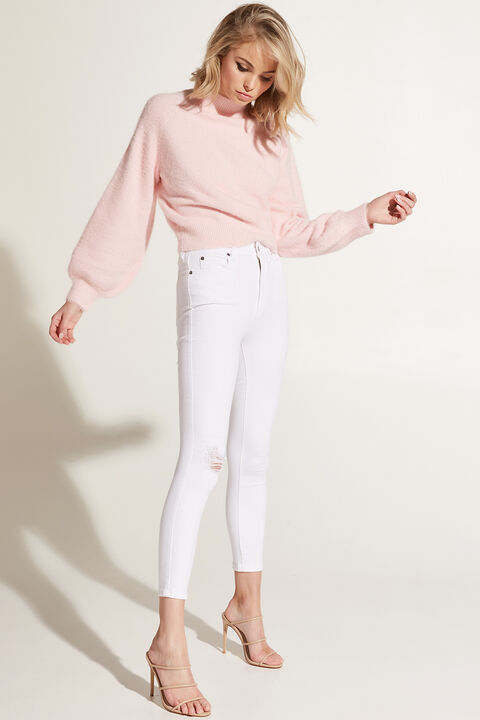 BELL SLEEVE FLUFFY KNIT in colour PINK LADY