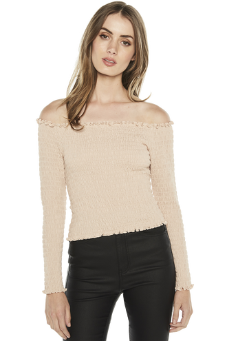 LONG SLEEVE SHIRRED TOP in colour BEIGE