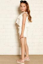 JUNIOR GIRL lorena frill top in colour CLOUD DANCER