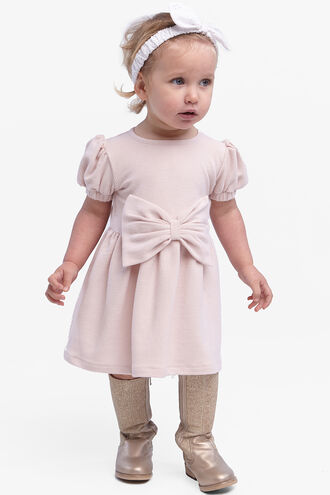 BASIC RIB BOW DRESS in colour CRYSTAL PINK