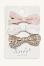GLITTER BOW CLIP 3PK in colour PINK CARNATION