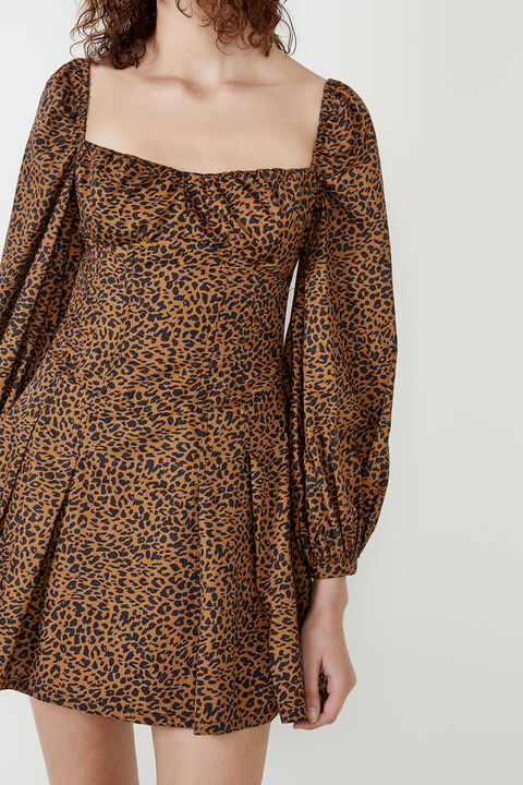 LEOPARD PRINT DRESS in colour LATTE