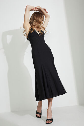 SOFIA SHEER MESH MIDI DRESS in colour CAVIAR