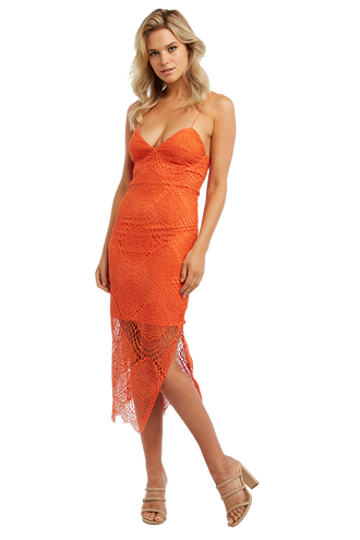 NIKKI LACE UP DRESS in colour CARROT