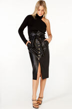 TIE WAIST VEGAN LEATHER SKIRT in colour CAVIAR