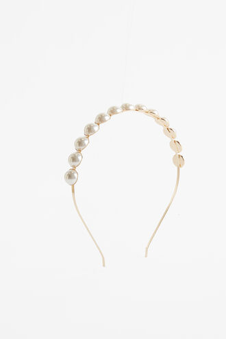 PEARL CIRCLE HEADBAND in colour GOLD EARTH