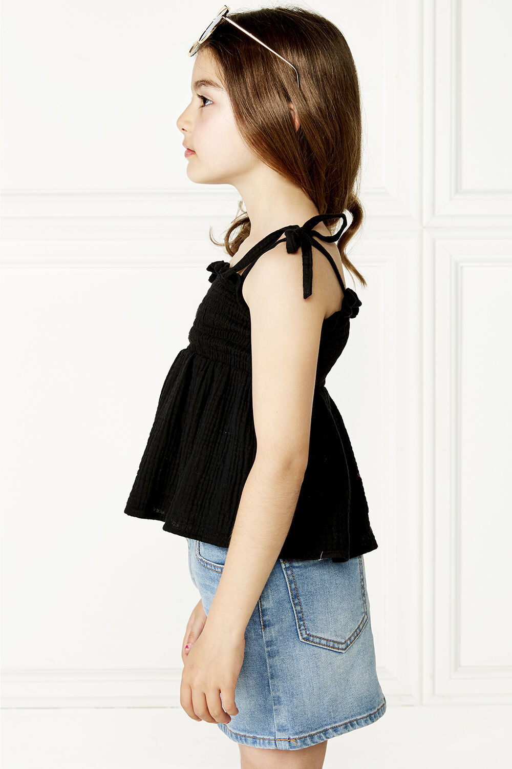 NORA SHIRRED TOP in colour JET BLACK