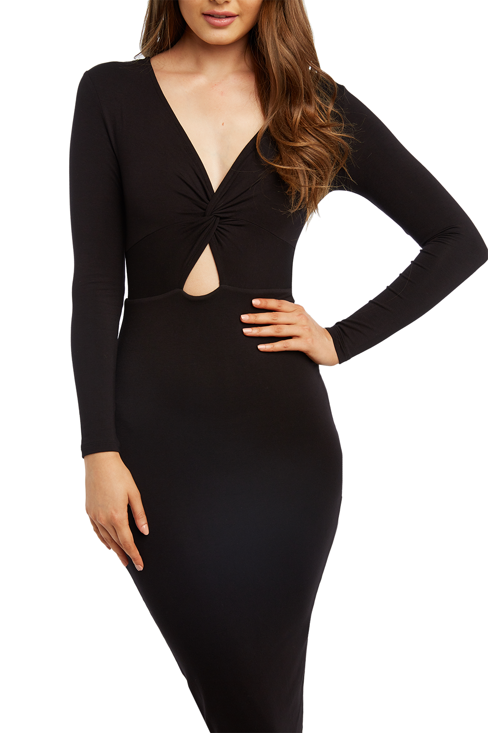 TWIST FRONT KNIT DRESS in colour CAVIAR