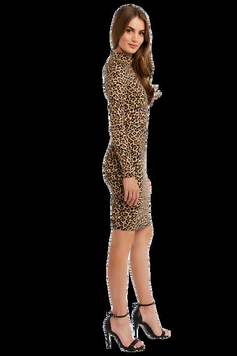 LEOPARD HIGH NECK DRESS in colour LATTE
