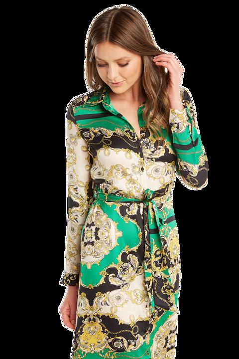 SCARF PR SHIRT DRESS in colour CLASSIC GREEN