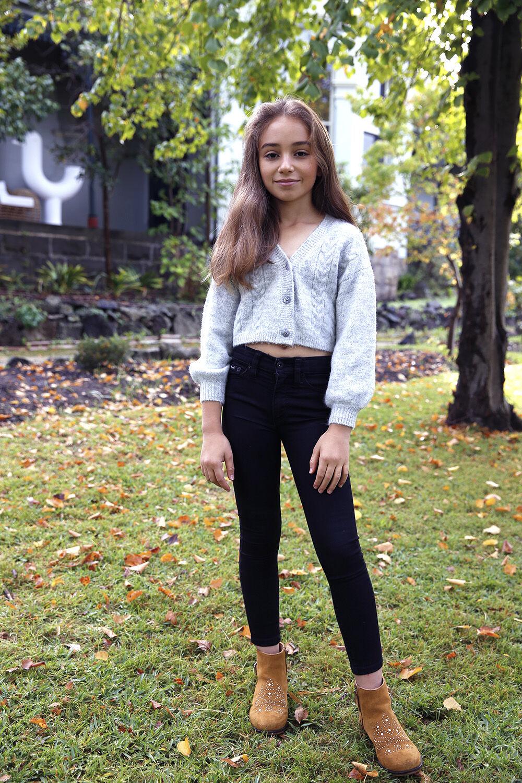 TWEEN GIRL COSY CROP CARDI in colour MOONBEAM