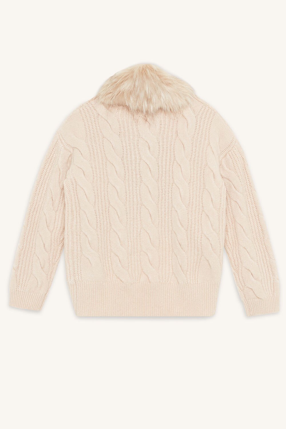 CABLE KNIT CARDIGAN in colour PEACH BLUSH