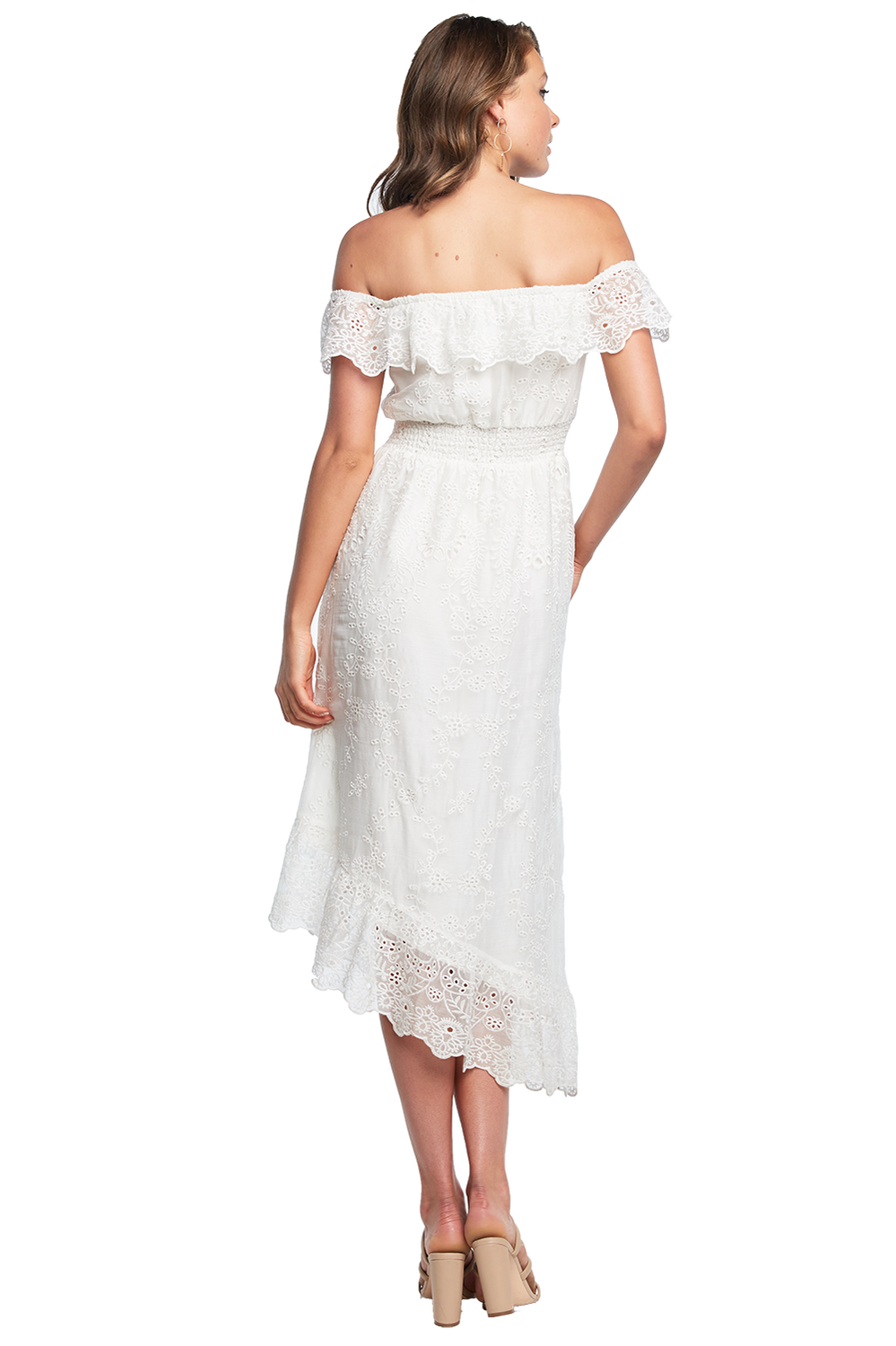 EMBROIDERY DRESS in colour CLOUD DANCER