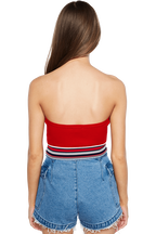 STRIPE KNIT BANDEAU in colour RIBBON RED