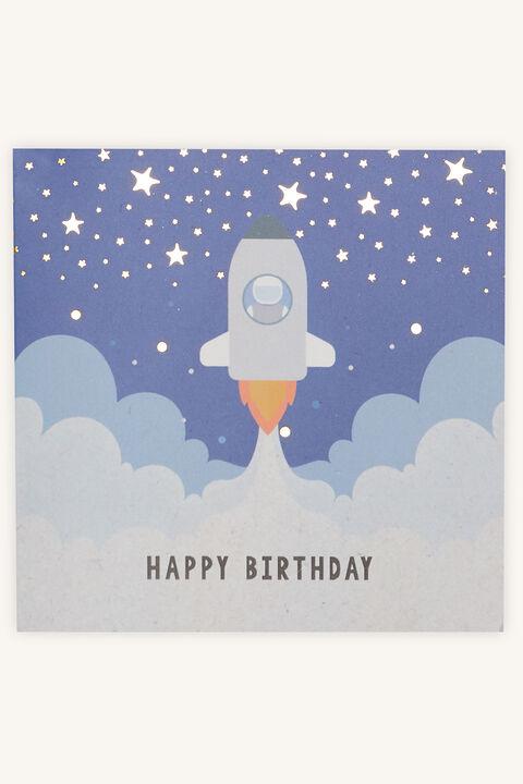 ROCKET  HAPPY BIRTHDAY GIFT CARD in colour BLACK IRIS