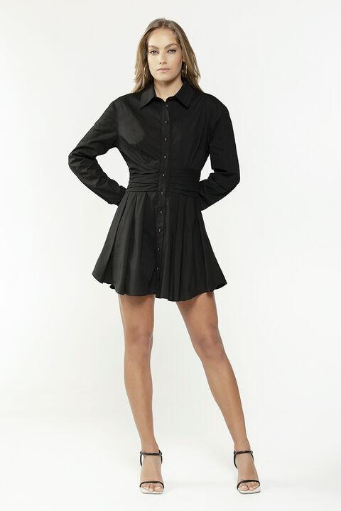 LEONI MINI SHIRT DRESS in colour CAVIAR