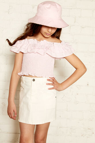 TRIXIE RUFFLE TOP in colour BLUSHING BRIDE