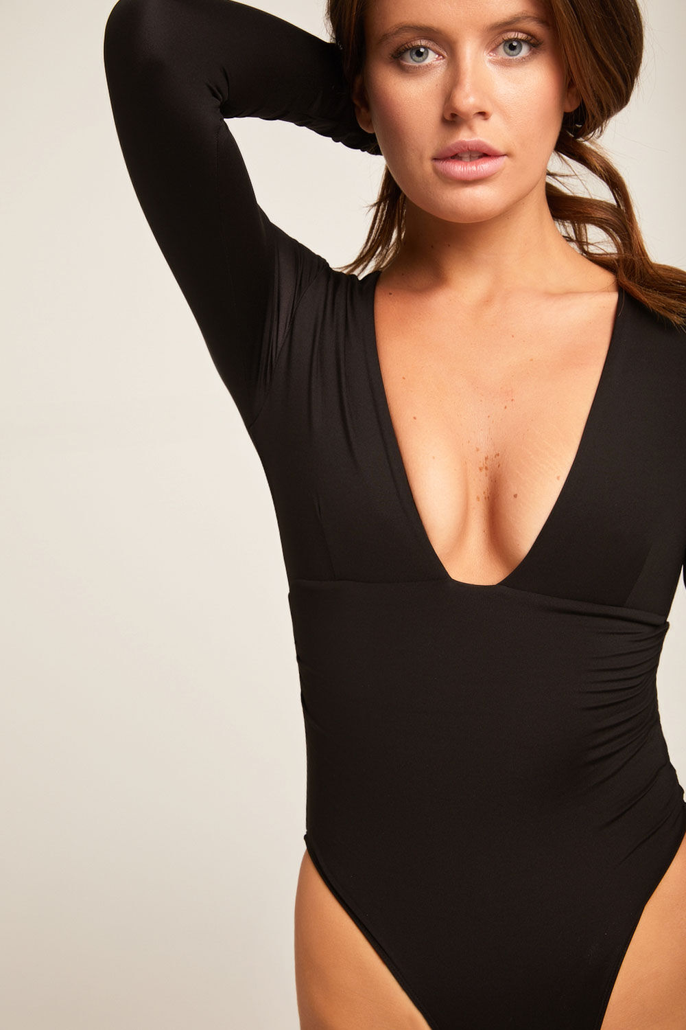 ALLURE BODYSUIT in colour CAVIAR