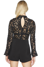 JANE LACE BODYSUIT in colour CAVIAR