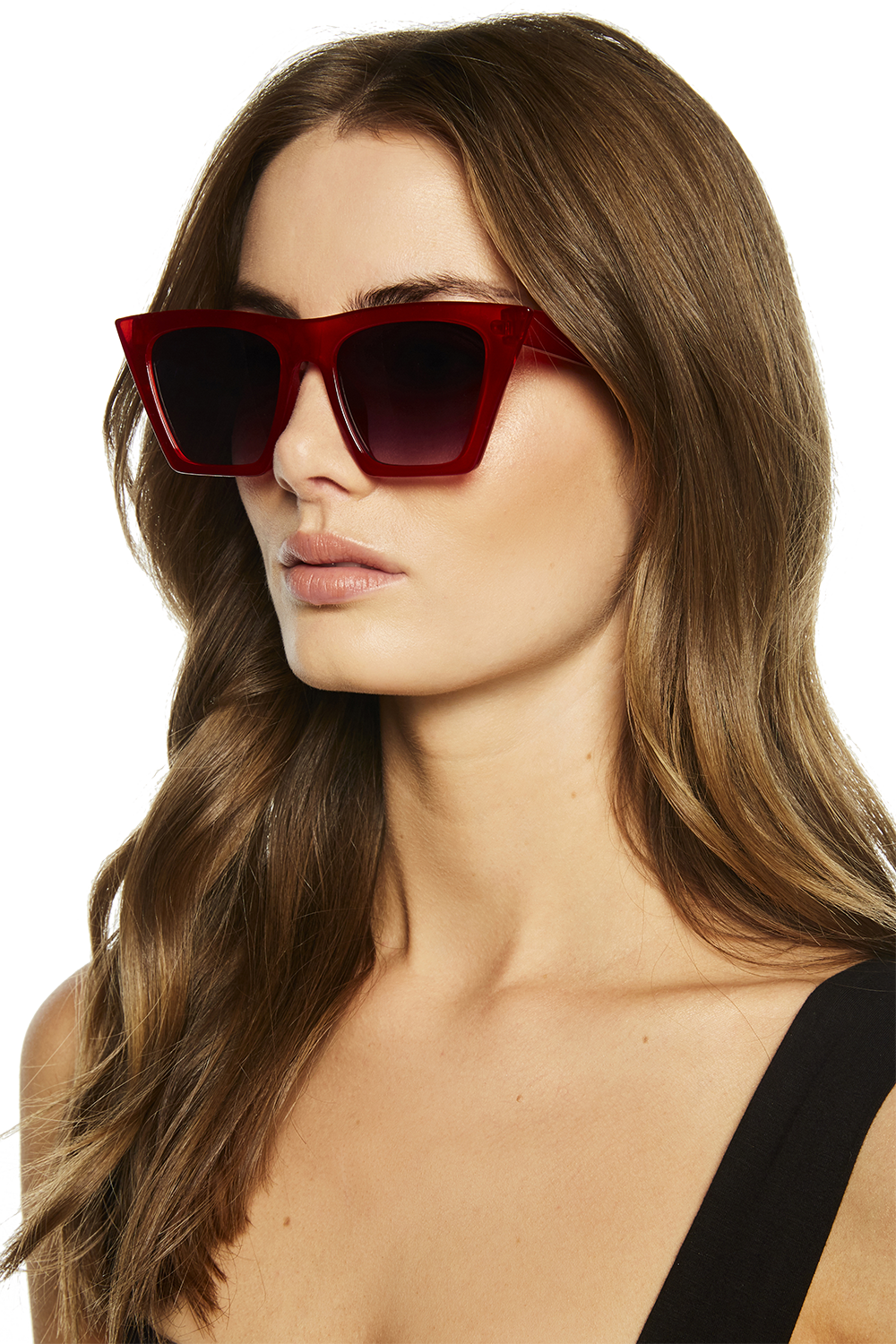 SQUARE CAT SUNGLASSES in colour RED BUD