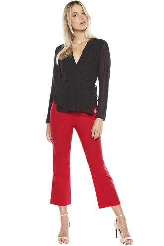 KICK FLARE PANT in colour CRIMSON