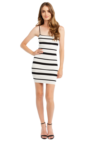 MINI STRIPE KNIT DRESS in colour CAVIAR