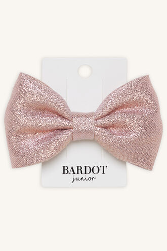 NOLA SHIMMER BOW CLIP in colour PINK CARNATION