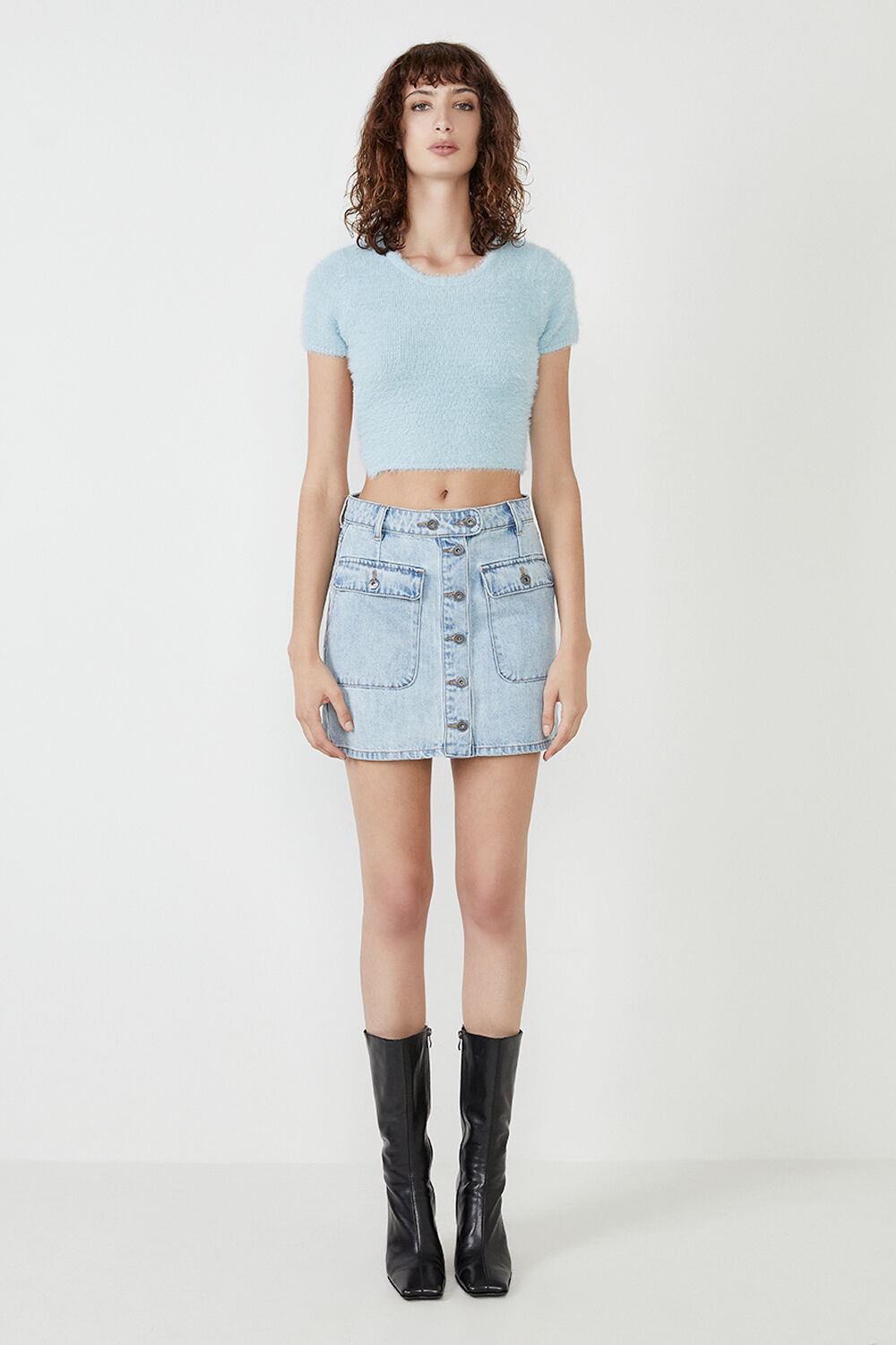 FLUFFY KNIT TOP in colour ASHLEY BLUE