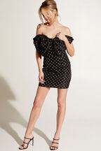 SPOT BOW DRESS in colour CAVIAR