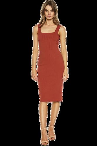 MIMI RIB DRESS in colour BARN RED
